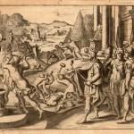 La distruzione delle statue pagane in epoca antica (incisione di Claude Duflos)