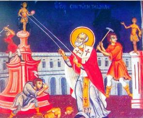 S. Nicola (da cui Babbo Natale) demolisce i templi pagani della Ionia, inizio del III secolo (affresco del V secolo)