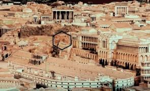 L'area del Lupercale (riquadrata) al Palatino: sopra, il tempio di Apollo, sotto, il Circo Massimo. Ricostruzione