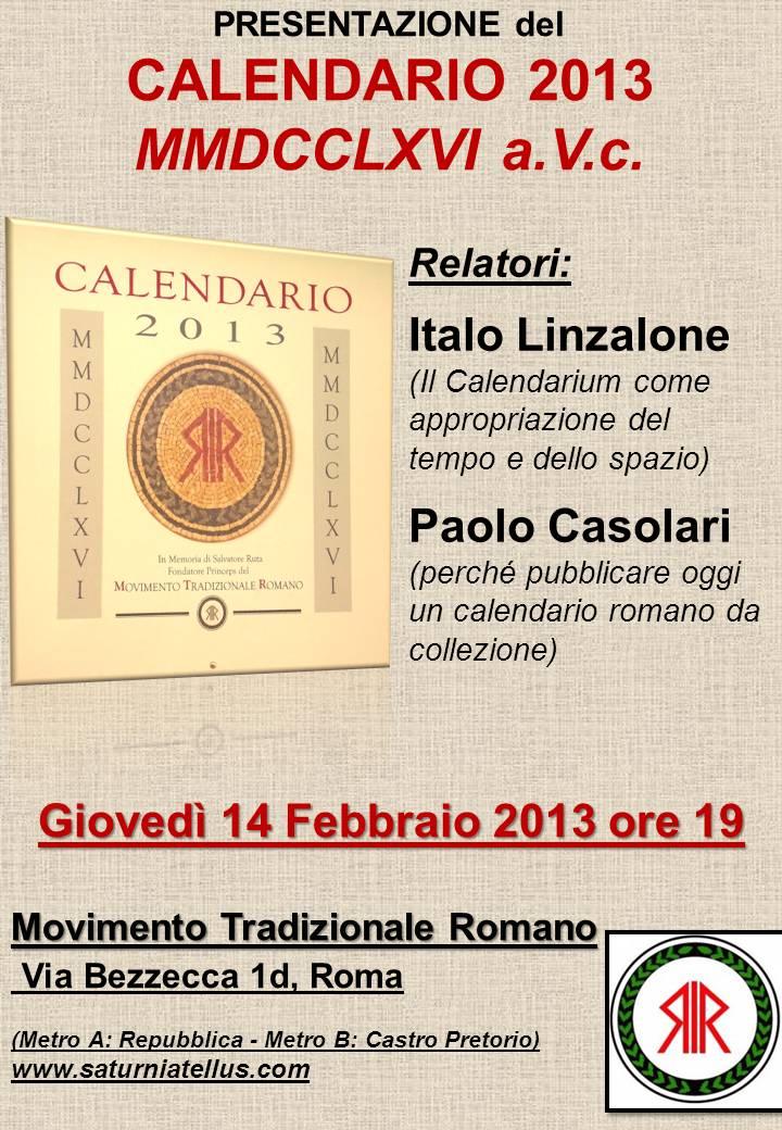 Calendario Romano.Conferenza Di Presentazione Del Calendario Romano A V C Mmdcclxvi
