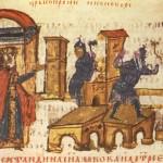 Costantino V imperatore bizantino fa distruggere le icone del monachesimo iconologico, 760 d.c. (miniatura da La Cronaca di Manasse)