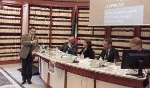 L'interventio di Giovannelli Marconi. Al tavolo, da sinistra, Luigi Lacquaniti, Raffaella Di Marzio, Alberto Airola