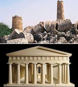 Il tempio G oggi e il modellino di com'era