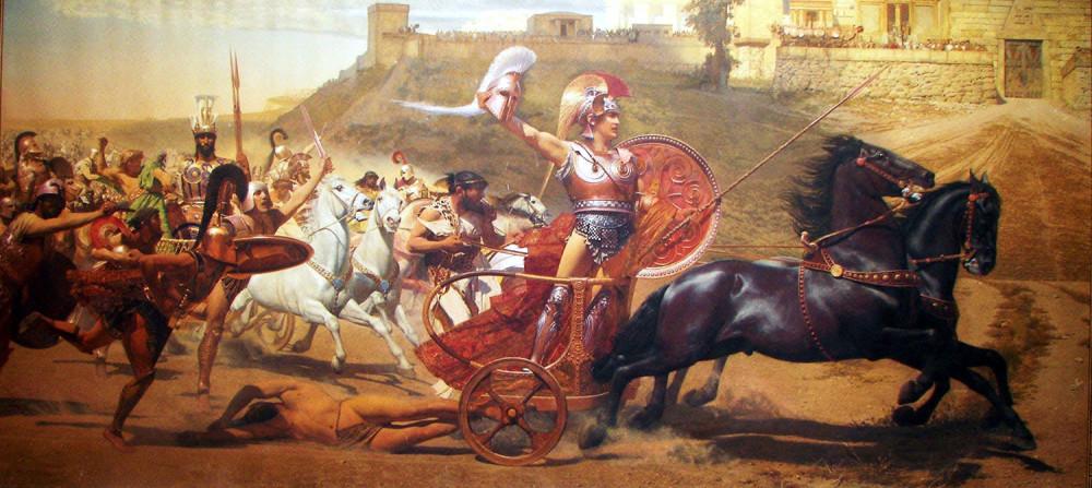 Achille trascina le spoglie dell'eroe troiano Ettore