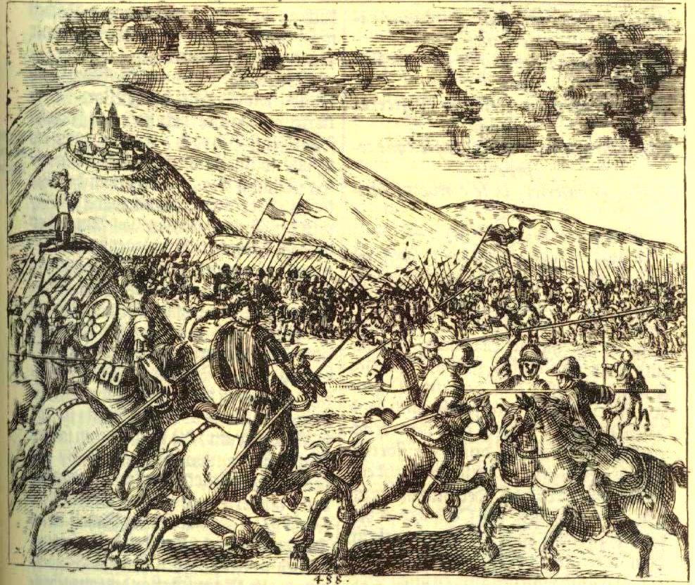 La battaglia tra Teodosio ed Eugenio, incisione di Janez Vajkard Valvasor