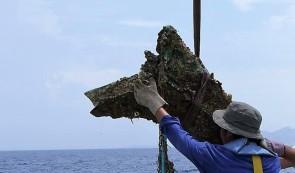Il rostro romano ritrovato appena issato a bordo