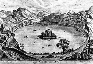 Stampa risalente alla metà del Cinquecento: vi è rappresentato un immaginario palazzo imperiale galleggiante sul lago