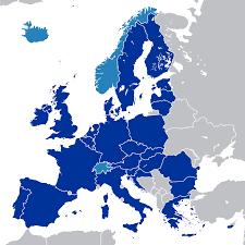 Unione europea (blu) e stati cooperanti (azzurro)