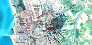 Immagine aerea dell'intero complesso portuale romano sovrapposto all attuale abitato