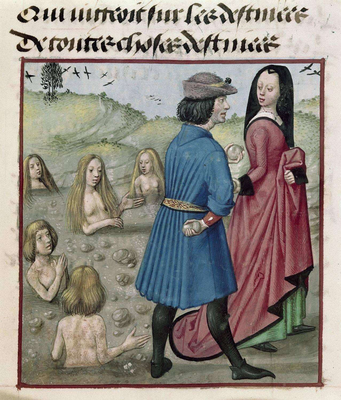 Deucalione e Pirra ripopolano il mondo dopo il diluvio, British Library, Harley 4425 c.153r. Roman de la Rose, 1490-1550.