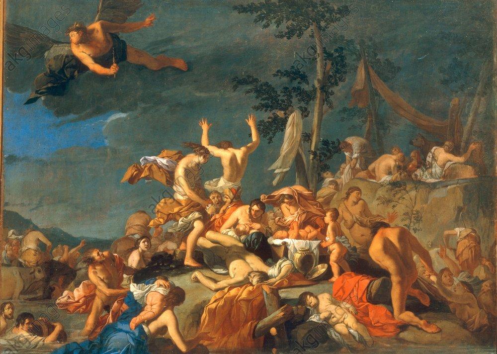 Giulio Carpioni, Il diluvio di Deucalione, olio su tela, 1655 (Pinacoteca Nazionale di Siena)