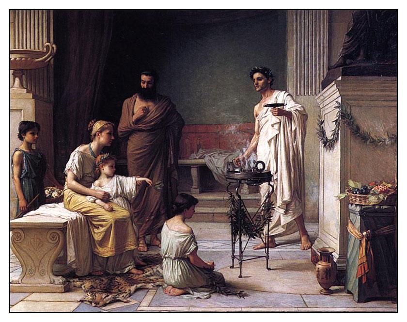 """John W. Waterhouse, """"Una madre offre ad Esculapio a portandosi il figlio malato"""", 1877"""