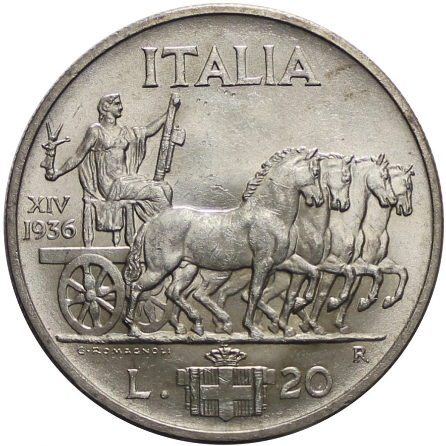 Venti lire Quadriga Impero