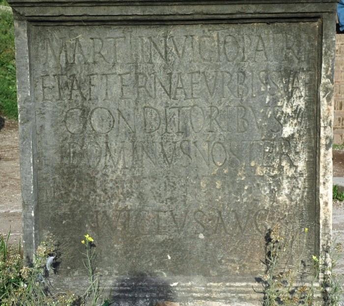 La dedica di Massenzio a Marte e ai fondatori di Roma