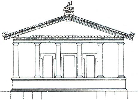 Tempio di Giove Capitolino, disegno della facciata