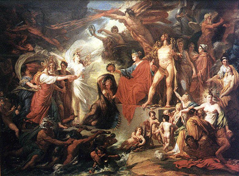 Divinità greco-romane ne Il trionfo della civiltà di Jacques Réattu, 1793