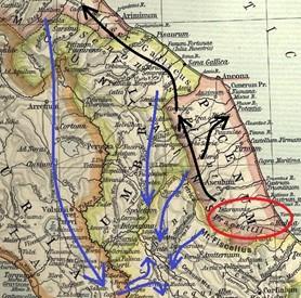la mappa fisica e politica delle Regiones d'Italia al tempo del Princeps Ottaviano Augusto interessate dal fenomeno di arrivo, stanziamento e diffusione della gens Sicula nell'era eneolitica: Regio V Picenum (comprendente le attuali Marche e parte dell'Abruzzo settentrionale, la provincia di Teramo ed una piccola parte di quella di Pescara), confinante a meridione con la Regio IV Samnium (comprendente il restante Abruzzo, gran parte del Molise e la parte più interna del Lazio), dove il cerchio in rosso segna l'area di approdo dei Siculi, e le frecce in nero la loro diffusione verso Settentrione fino alla Regio VIII Aemilia Regio (comprendente gran parte delle attuali Emilia e Romagna, essendo tutto il territorio attraversato dalla Via Aemilia e corrispondendo alla Gallia Cispadana); le frecce in blu la loro migrazione verso il versante tirrenico a seguito dell'arrivo da Nord delle gentes osco-sabelliche ed umbre, passando per la Regio VII Etruria (comprendente gran parte dell'attuale Toscana ed il versante occidentale dell'Umbria al di qua del corso medio del Tevere) e la Regio VI Umbria et Ager Gallicus (ovvero il tutto il restante territorio dell'attuale Umbria, più la parte settentrionale delle Marche).