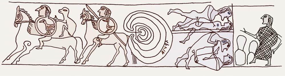 Arte etrusca, Decorazione del vaso di Tragliatella (VIII-VII secolo a.C.; ceramica; Roma, Musei Capitolini)