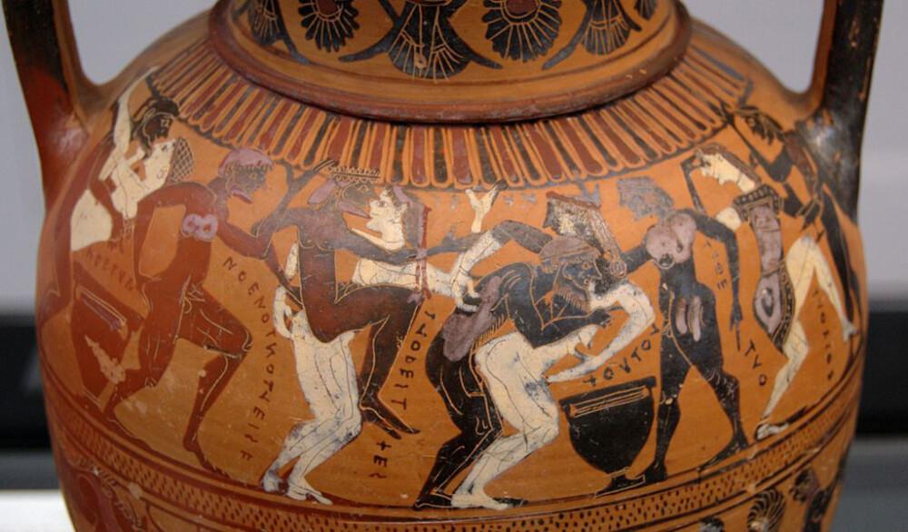 Arte etrusca, Anfora con komos (560 a.C. circa; ceramica a figure nere; Monaco di Baviera, Antikensammlungen)