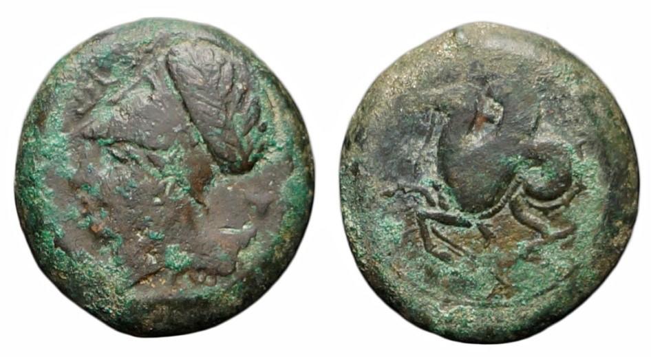 Litra battuta ai tempi di Dionisio I, tiranno di Siracusa, IV sec. a.C. A sinistra, rovescio con immagine del volto della Dea Atena recante l'elmo; a destra, diritto con immagine di Pegaso