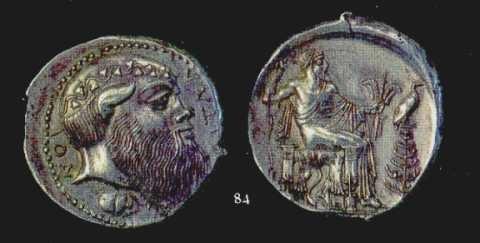 Tetradramma di Aitna, IV sec. a.C. A sinistra, diritto con immagine del volto di un Sileno; a destra, immagine di Zeus Etneo assiso