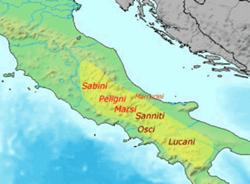 Stanziamento dei vari popoli di stirpe osco-sabellica nella seconda metà del I millennio a.C.
